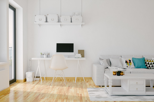 White Color「Modern Home Office Interior」:スマホ壁紙(17)