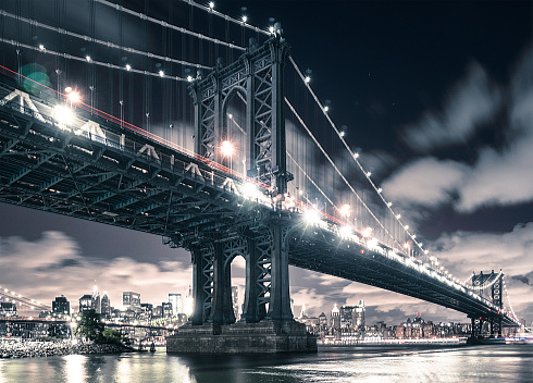 Famous Place「NYC skyline and manhattan bridge」:スマホ壁紙(0)