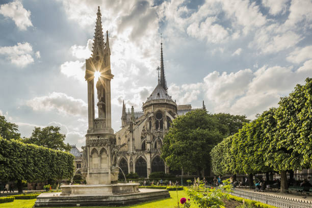 Place (square) Jean XXIII, the Fountain of the Virgin and the apse of Notre Dame de Paris:スマホ壁紙(壁紙.com)