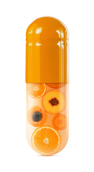 persimmon「Sliced oranges in oversized capsule on white」:スマホ壁紙(2)