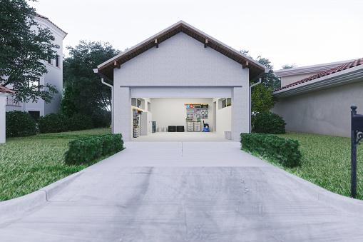 Open「Open Garage With Concrete Driveway」:スマホ壁紙(0)