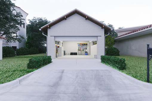 Outdoors「Open Garage With Concrete Driveway」:スマホ壁紙(2)