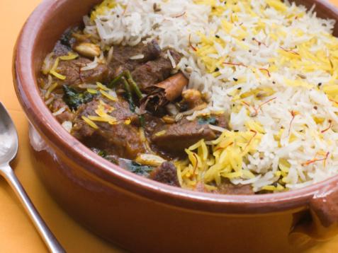 Basmati Rice「Pot of Lamb Biryani with a spoon」:スマホ壁紙(7)