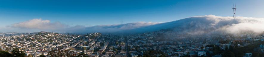 Boulevard「San Francisco fog Twin Peaks Mission District homes panorama California」:スマホ壁紙(7)
