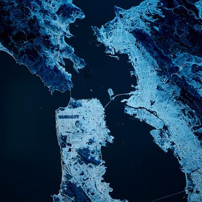 Pacific Ocean「San Francisco California 3D Render Blue Top View Apr 2019」:スマホ壁紙(19)