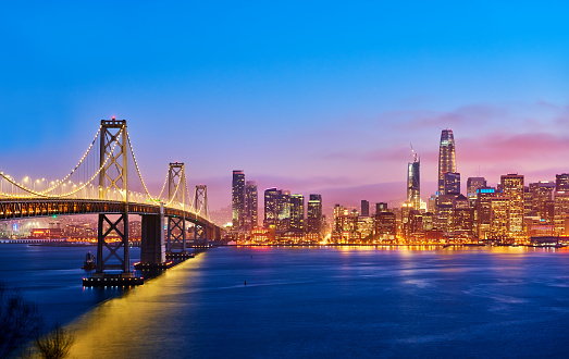 Saturated Color「San Francisco Skyline at Sunset, California, USA」:スマホ壁紙(8)