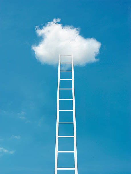 Ladder leading to clouds:スマホ壁紙(壁紙.com)