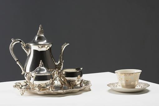 Teapot「Gilded china tea cup and silver tea set」:スマホ壁紙(9)