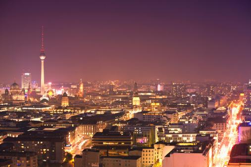 Antenna - Aerial「Berlin By Night Skyline, Aerial View」:スマホ壁紙(18)