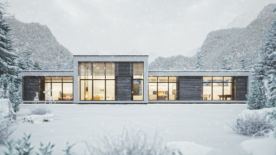European Alps「Modern Mountain House In Snowy Weather」:スマホ壁紙(9)
