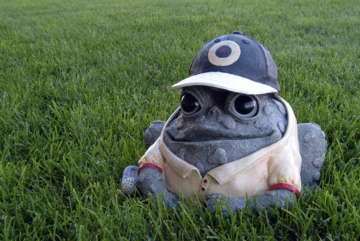 Caricature「Frog lawn ornament in baseball uniform」:スマホ壁紙(14)