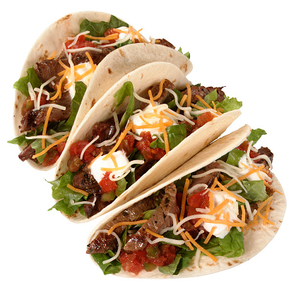 Taco「Three beef tacos on a white background」:スマホ壁紙(10)