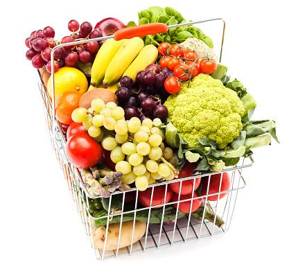 籠「買い物カゴ、果物と野菜」:スマホ壁紙(12)