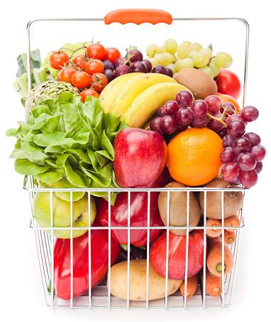 Supermarket「Shopping basket with fruits and vegetables」:スマホ壁紙(7)