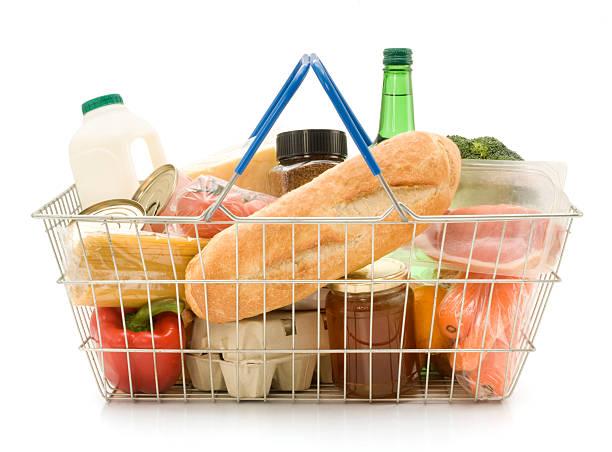A shopping basket filled with food:スマホ壁紙(壁紙.com)