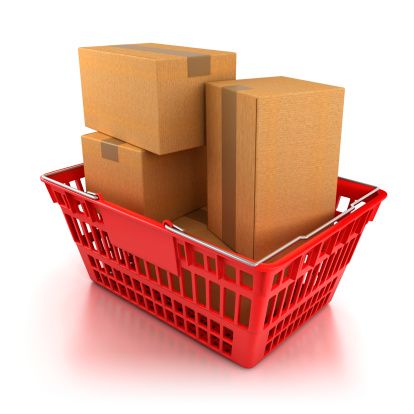 Buy - Single Word「Shopping basket full of boxes - isolated with clipping path」:スマホ壁紙(18)