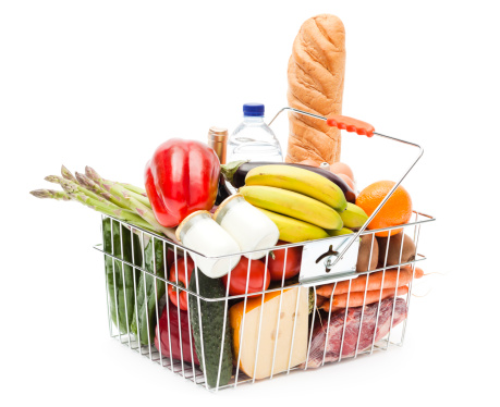 Shopping Basket「Shopping basket full of fruits, vegetables and heathy food」:スマホ壁紙(12)