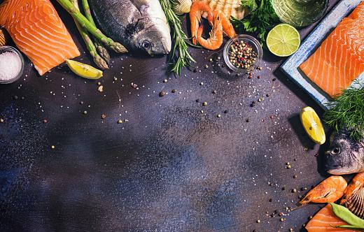 Sea Bream「Fresh Seafood Background」:スマホ壁紙(3)