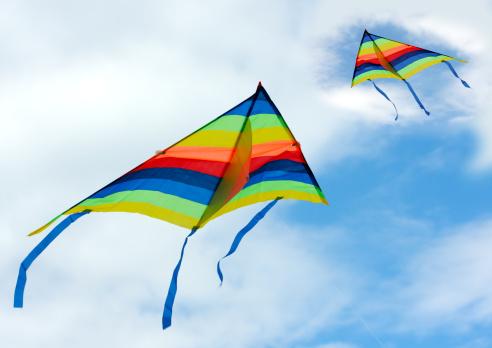 kite flying「Two rainbow kites flying in the sky」:スマホ壁紙(4)