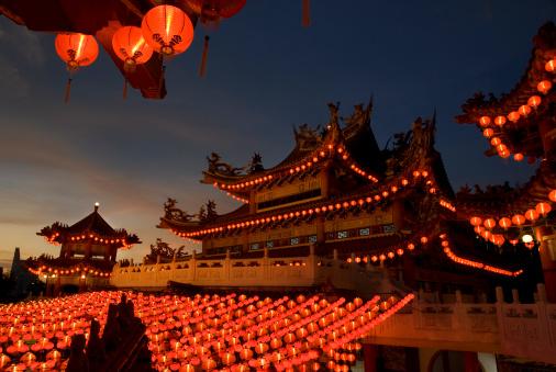 Lunar New Year;「Chinese Temple - Evening scene」:スマホ壁紙(15)