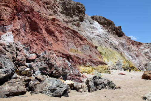 Steep「Hydrothermally altered red and yellow cliffs with fresh fumarolic deposits, Greece.」:スマホ壁紙(19)