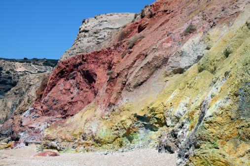 Steep「Hydrothermally altered red and yellow cliffs with fresh fumarolic deposits, Greece.」:スマホ壁紙(18)