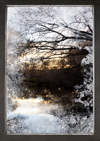 Frost「Frosty window and view of rural lake」:スマホ壁紙(18)