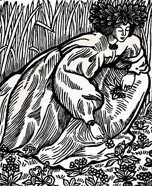 花「The Poems Of Ronsard Original Woodcut 1902」:写真・画像(17)[壁紙.com]
