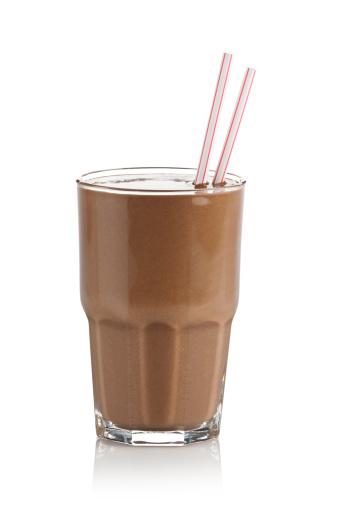 Refreshment「Chocolate milkshake glass against white background」:スマホ壁紙(11)