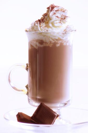 ココア「Chocolate milkshake with whipped cream and piece of chocolate, close-up」:スマホ壁紙(14)