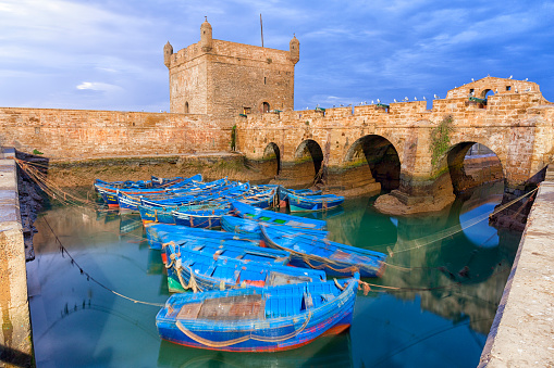 Morocco「Morocco, Essaouira, blue fishing boats in the harbour」:スマホ壁紙(18)