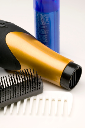 Hairspray - Hair Product「Brush and comb with hair dryer and can of mousse」:スマホ壁紙(0)