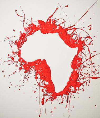 Splattered「Shape of Africa in red splattered paint」:スマホ壁紙(13)