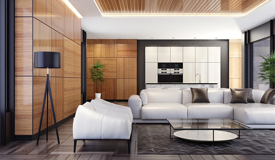 Villa「Luxury minimalist open space living room with kitchen and dining」:スマホ壁紙(2)