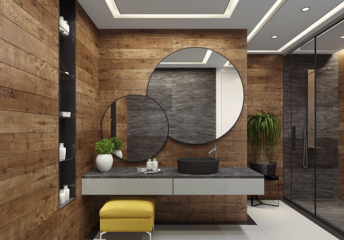 Stool「Luxury minimalist bathroom with wooden walls and large white and grey tiles」:スマホ壁紙(11)