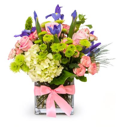 透明「カラフルなフラワーのブーケにガラスの花瓶にピンクのリボン型」:スマホ壁紙(7)