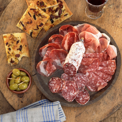 Napkin「Sliced salami and ham with foccaccia and olives」:スマホ壁紙(17)