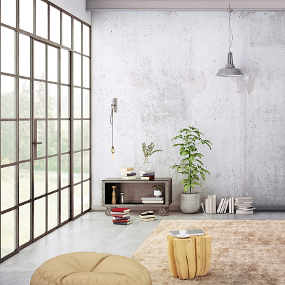 Clean「Modern loft interior with blank wall for copy space」:スマホ壁紙(13)
