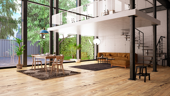Open「Modern Loft Apartment with Mezzanine」:スマホ壁紙(10)