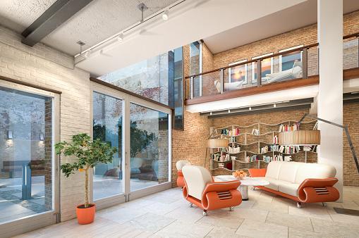 Brick Wall「Modern Loft Apartment Interior」:スマホ壁紙(15)