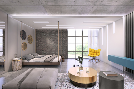 Clothes Rack「Modern loft studio apartment interior」:スマホ壁紙(16)
