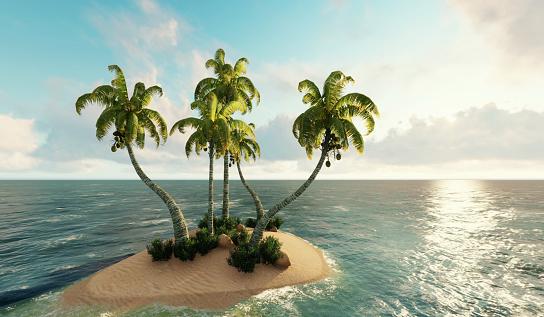 島「島、海の小さな島。3D レンダリング」:スマホ壁紙(13)