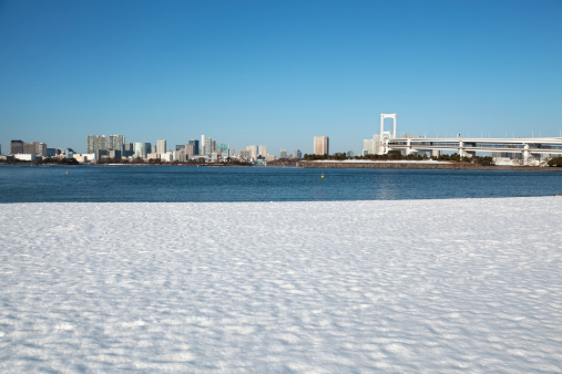 City Life「Daiba beach where snow remains」:スマホ壁紙(3)