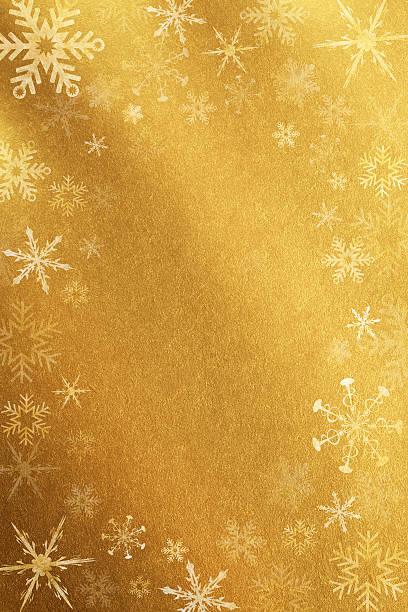 ゴールドの背景に雪の結晶:スマホ壁紙(壁紙.com)
