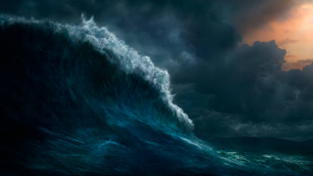 Waves crashing on stormy sea:スマホ壁紙(壁紙.com)