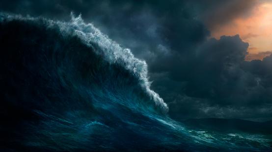 Blurred Motion「Waves crashing on stormy sea」:スマホ壁紙(1)
