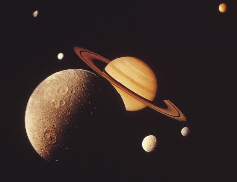 Solar System「Saturn with moons」:スマホ壁紙(11)