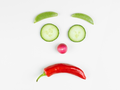 Frowning「Unhappy face made of vegetables (close-up)」:スマホ壁紙(5)