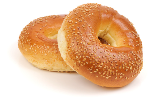 Bun - Bread「Two Sesame Seed bagels isolated on white background」:スマホ壁紙(14)