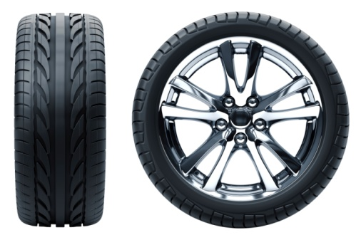 Tire - Vehicle Part「Profile and side profile view of a car wheel on white」:スマホ壁紙(1)